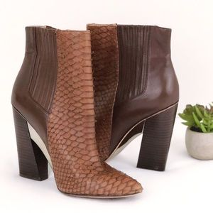 BCBGMAXAZRIA Runway Leather & Snake Ankle boot 8